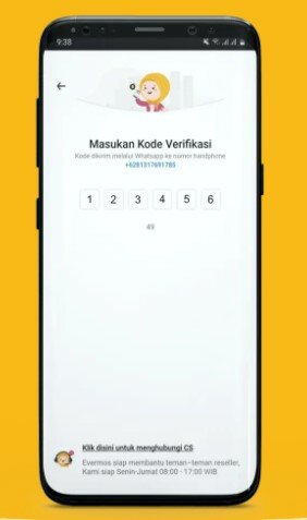 Kode Verifikasi Aplikasi Evermos